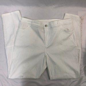 Soft Surroundings White Crochet Detail Jeans